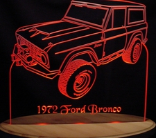 1972 Bronco LH Acrylic Lighted Edge Lit LED Sign / Light Up Plaque Full Size Made in USA
