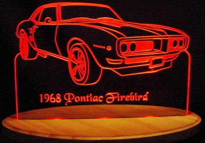 1968 Firebird With Scoops Acrylic Lighted Edge Lit LED Sign / Light Up Plaque Full Size Made in USA