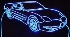 2002 Chevy Corvette Convertible Acrylic Lighted Edge Lit LED Sign / Light Up Plaque Full Size Made in USA