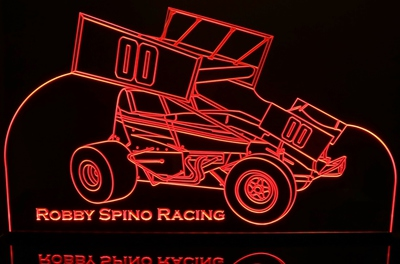 Sprint Wing Race Car Acrylic Lighted Edge Lit LED Sign / Light Up Plaque Full Size Made in USA
