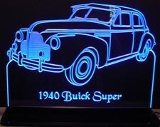 1940 Buick Super Acrylic Lighted Edge Lit LED Sign / Light Up Plaque Full Size Made in USA