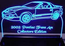 2002 Trans Am Acrylic Lighted Edge Lit LED Sign / Light Up Plaque Full Size Made in USA