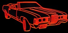 1971 Cougar XR7 Convertible Acrylic Lighted Edge Lit LED Sign / Light Up Plaque Full Size Made in USA