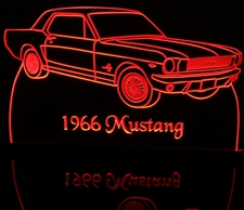 1966 Ford Mustang Acrylic Lighted Edge Lit LED Car Sign / Light Up Plaque
