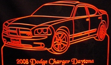 2008 Dodge Charger Daytona Acrylic Lighted Edge Lit LED Sign / Light Up Plaque Full Size Made in USA