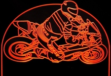 Mororcycle with Rider Acrylic Lighted Edge Lit LED Sign / Light Up Plaque Full Size Made in USA