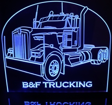 Semi Kenworth W900l No Sleeper Acrylic Lighted Edge Lit LED Sign / Light Up Plaque Full Size Made in USA