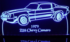 1979 Chevy Camaro Z28 Chevrolet Acrylic Lighted Edge Lit LED Sign / Light Up Plaque Full Size Made in USA