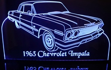 1963 Impala Chevy / Chevrolet Acrylic Lighted Edge Lit LED Sign / Light Up Plaque Full Size Made in USA