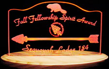 Scouts Spirit Award with arrow Acrylic Lighted Edge Lit LED Sign / Light Up Plaque Full Size Made in USA