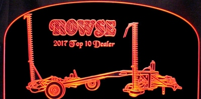 Trophy Award Mower Farm Equipment Acrylic Lighted Edge Lit LED Sign / Light Up Plaque Full Size Made in USA