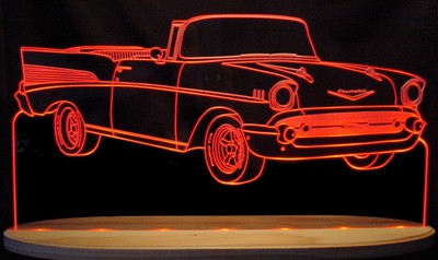 1957 Chevy Convertible Acrylic Lighted Edge Lit LED Sign / Light Up Plaque Full Size Made in USA
