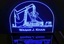 Oil Rig Well Pump Jack Derrick Drill Advertising Business Logo Acrylic Lighted Edge Lit LED Sign / Light Up Plaque