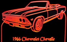 1966 Chevelle Convertible (top down) Acrylic Lighted Edge Lit LED Sign / Light Up Plaque Full Size Made in USA