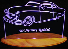 1951 Mercury Leadsled Acrylic Lighted Edge Lit LED Car Sign / Light Up Plaque
