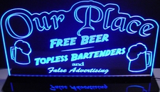 Office Bar Name Sign Free Beer Tys Place Acrylic Lighted Edge Lit LED Sign / Light Up Plaque Full Size Made in USA