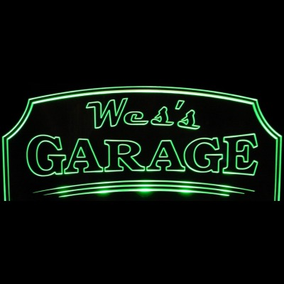 Shop Garage Sign Wes Acrylic Lighted Edge Lit LED Sign / Light Up Plaque Full Size Made in USA