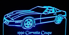 1990 Chevy Corvette Coupe Acrylic Lighted Edge Lit LED Sign / Light Up Plaque Full Size Made in USA