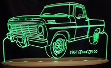 1967 Ford F100 Pickup Truck LH Acrylic Lighted Edge Lit LED Sign / Light Up Plaque Full Size Made in USA