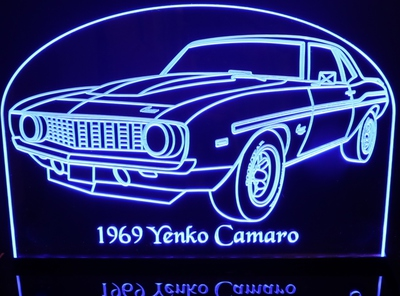 1969 Camaro Yenko Acrylic Lighted Edge Lit LED Sign / Light Up Plaque Full Size Made in USA