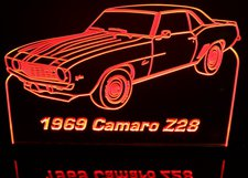 1969 Camaro Z28 Acrylic Lighted Edge Lit LED Sign / Light Up Plaque Full Size Made in USA