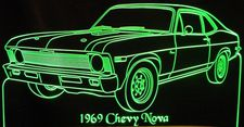 1969 Chevy Nova Acrylic Lighted Edge Lit LED Sign / Light Up Plaque Full Size Made in USA