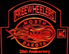 Freewheelers Trophy Award Acrylic Lighted Edge Lit LED Sign / Light Up Plaque Full Size Made in USA