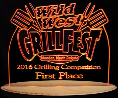 Award Trophy Presentation Grillfest Acrylic Lighted Edge Lit LED Sign / Light Up Plaque Full Size Made in USA