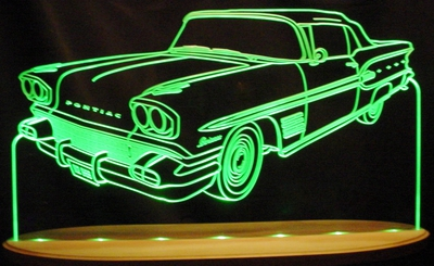 1958 Pontiac Parisienne Convertible Acrylic Lighted Edge Lit LED Sign / Light Up Plaque Full Size Made in USA