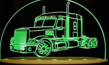 Semi Truck with sleeper Choose Your Text Acrylic Lighted Edge Lit LED Sign / Light Up Plaque Full Size Made in USA