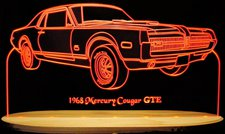 1968 Cougar GTE Acrylic Lighted Edge Lit LED Sign / Light Up Plaque Full Size Made in USA