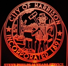 City of Harrison Trophy Award Sample Only Design Not For Sale Acrylic Lighted Edge Lit LED Sign / Light Up Plaque Full Size USA Original