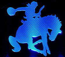 Bucking Horse Cowboy Rodeo Acrylic Lighted Edge Lit LED Sign / Light Up Plaque Full Size Made in USA