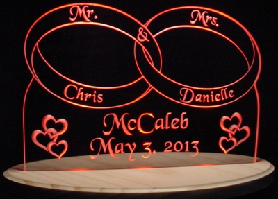 Wedding Rings Centerpiece Acrylic Lighted Edge Lit LED Sign / Light Up Plaque