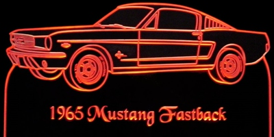 1965 Mustang (no scoop) Fastback Acrylic Lighted Edge Lit LED Sign / Light Up Plaque Full Size Made in USA