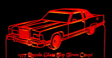 1977 Lincoln Town Car Glass Top Acrylic Lighted Edge Lit LED Car Sign / Light Up Plaque