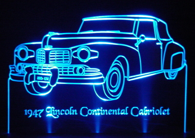 1947 Lincoln Continental Cabriolet Acrylic Lighted Edge Lit LED Car Sign / Light Up Plaque