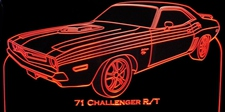 1971 Challenger R/T 440 Acrylic Lighted Edge Lit LED Sign / Light Up Plaque Full Size Made in USA