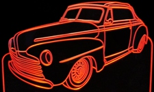 1947 Ford Super Deluxe Acrylic Lighted Edge Lit LED Sign / Light Up Plaque Full Size Made in USA