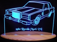1980 Lincoln Mark VI Acrylic Lighted Edge Lit LED Car Sign / Light Up Plaque