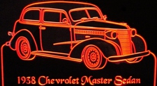 1938 Chevy Master Sedan Acrylic Lighted Edge Lit LED Sign / Light Up Plaque Full Size Made in USA