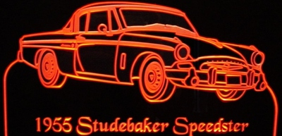 1955 Studebaker Speedster Acrylic Lighted Edge Lit LED Sign / Light Up Plaque Full Size Made in USA