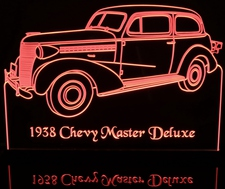 1938 Chevy Master Deluxe Acrylic Lighted Edge Lit LED Sign / Light Up Plaque Full Size Made in USA