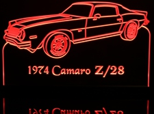 1974 Camaro Z28 Acrylic Lighted Edge Lit LED Sign / Light Up Plaque Full Size Made in USA