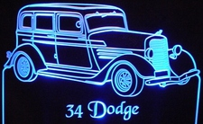 1934 Dodge Acrylic Lighted Edge Lit LED Car Sign / Light Up Plaque