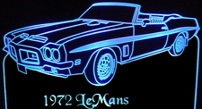 1972 Pontiac Lemans Acrylic Lighted Edge Lit LED Car Sign / Light Up Plaque