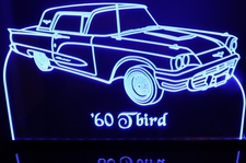 1960 Ford Tbird Acrylic Lighted Edge Lit LED Car Sign / Light Up Plaque Thunderbird