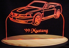 1999 Ford Mustang Convertible Acrylic Lighted Edge Lit LED Car Sign / Light Up Plaque