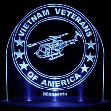 Vietnam Veterans War Memorial Medic Helicopter Acrylic Lighted Edge Lit LED Sign  Light Up Plaque Full Size Made in USA