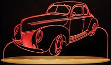 1939 Ford Coupe Deluxe Acrylic Lighted Edge Lit LED Sign / Light Up Plaque Full Size Made in USA
